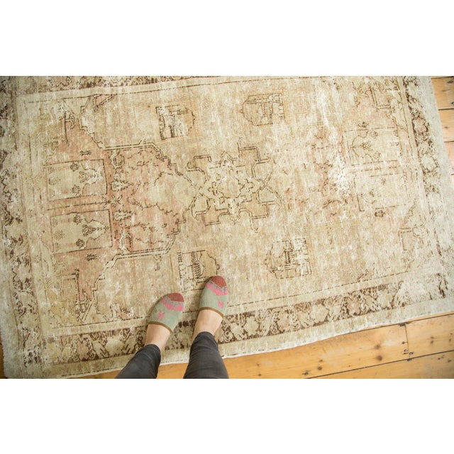 "Vintage Distressed Oushak Rug - 4' x 5'11"" - Image 2 of 10"