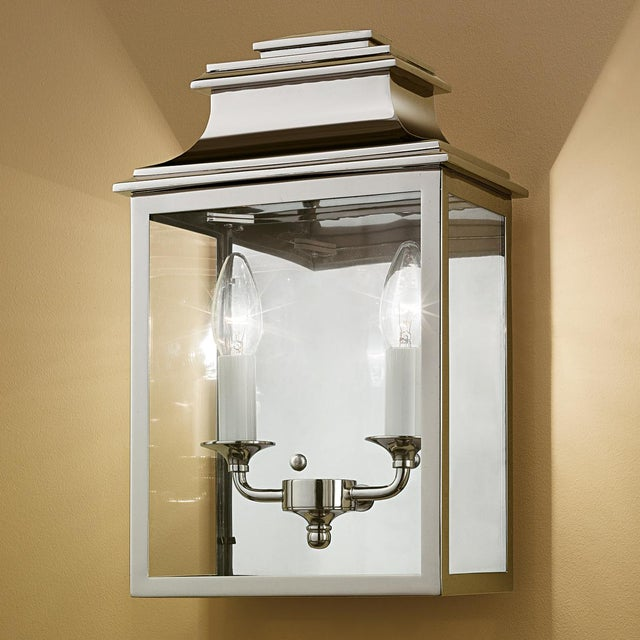 Polished nickel wall lantern. Clear LED candle lamps recommended with this lantern. Certification: IP20. Bulbs: 2 X E14...