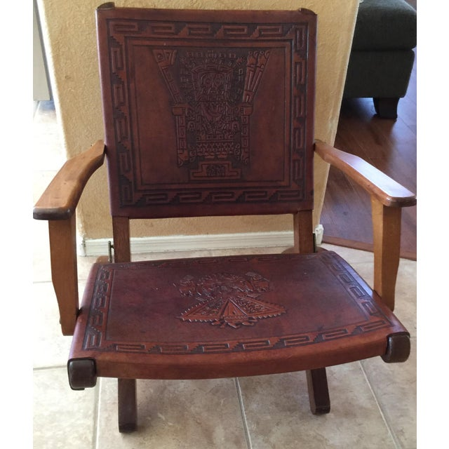 Rare Mid Century Folding Hand Tooled Leather Chair - Image 2 of 5