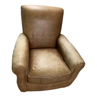 1990s Vintage Room & Board Distressed Leather Arm Chair For Sale