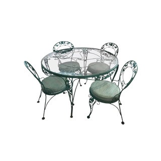 Russell Woodard Green Iron Dining Table and Four Chairs For Sale
