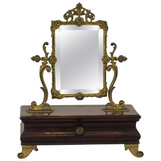 1910 French Jewelry Box With Brass Mirror For Sale