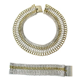 Mexican Collar and Cuff Set of Mixed Sterling and Brass Links For Sale