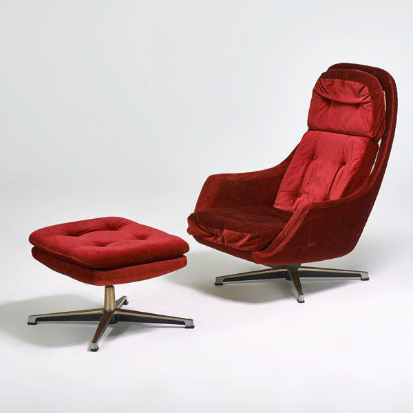 Fantastic Scandinavian Modern swivel lounge chair and ottoman by Overman, Sweden, circa 1970s. Upholstered in a rich red...