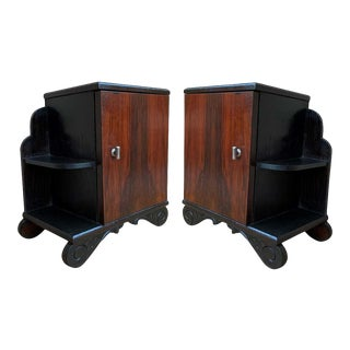 Art Deco Side Cabinets or Nightstands With Ebonized Base and Burl Walnut - a Pair For Sale