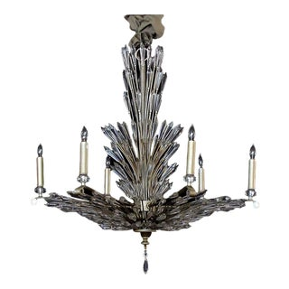 Art Deco Style 6-Light Chandelier With Radiating Crystal Fronds For Sale