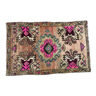 1960s Antique Bohemian Door Mat Rug- 1′10″ × 2′11″ For Sale