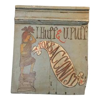 Vintage Blue Tobacconist 'I Huff U Puff' Sign For Sale