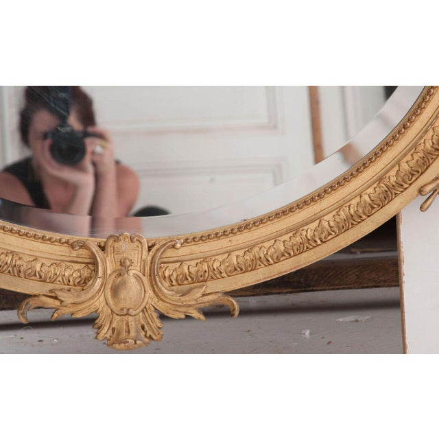 Early 19th Century French 19th Century Oval Gold Gilt Mirror For Sale - Image 5 of 10