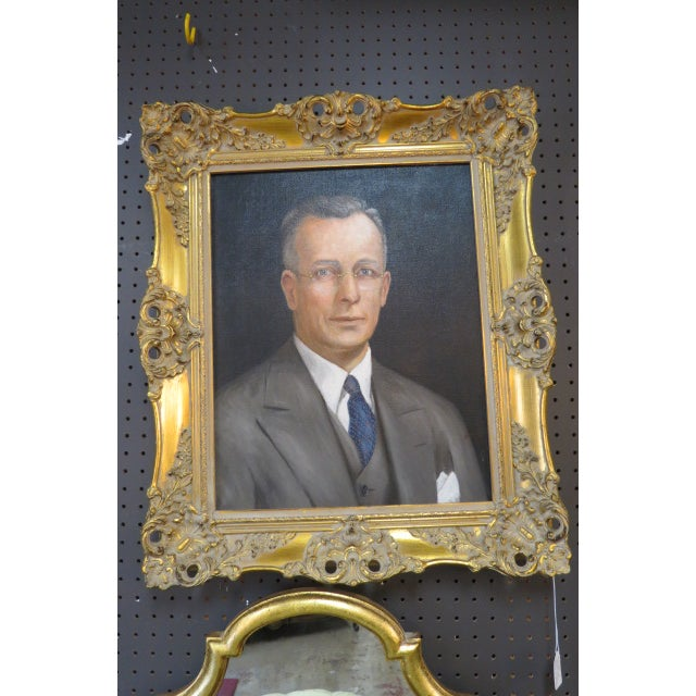 Gold Vintage Traditional Portrait of a Gentleman Oil on Canvas For Sale - Image 8 of 8