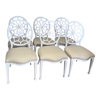 Set of Six Hollywood Regency White Dining Chairs For Sale