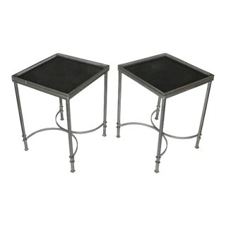 Mid-Century Modern Marble Top Steel Side Tables For Sale