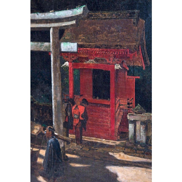 "Late 19th Century Francis Neydhart Oil on Canvas ""A Courtyard Ceremony, Nikko"" For Sale - Image 4 of 13"