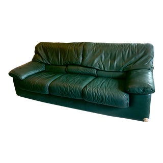 Roche Bobois Green Leather Sofa For Sale