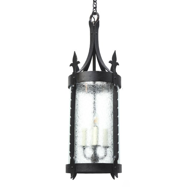 Wrought Iron Lantern with Curved Textured Glass For Sale - Image 11 of 11