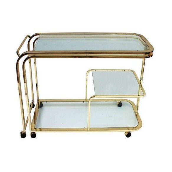 Brass and Glass Bar Cart by Milo Baughman for DIA - Image 2 of 5