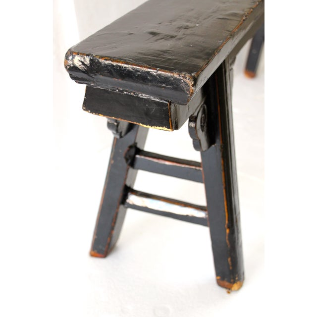 Hand Carved Chinese-Style Black Altar Bench - Image 7 of 8