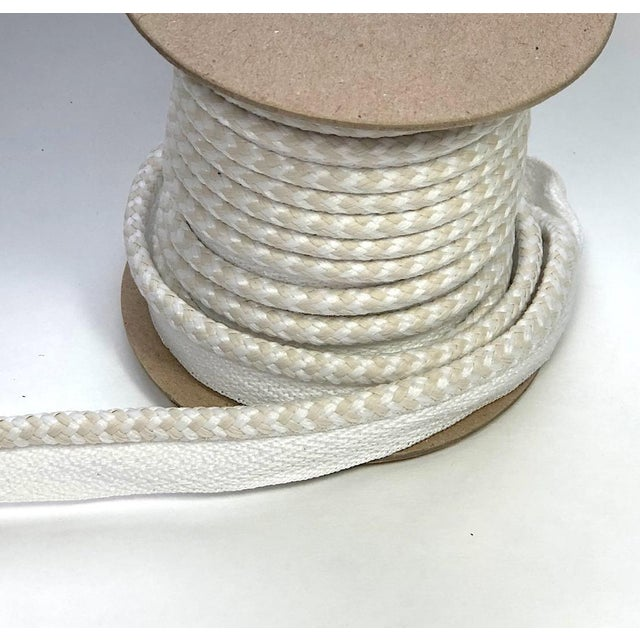 """Contemporary Braided 1/4"""" Indoor/Outdoor Cord in White/Cream For Sale - Image 3 of 10"""