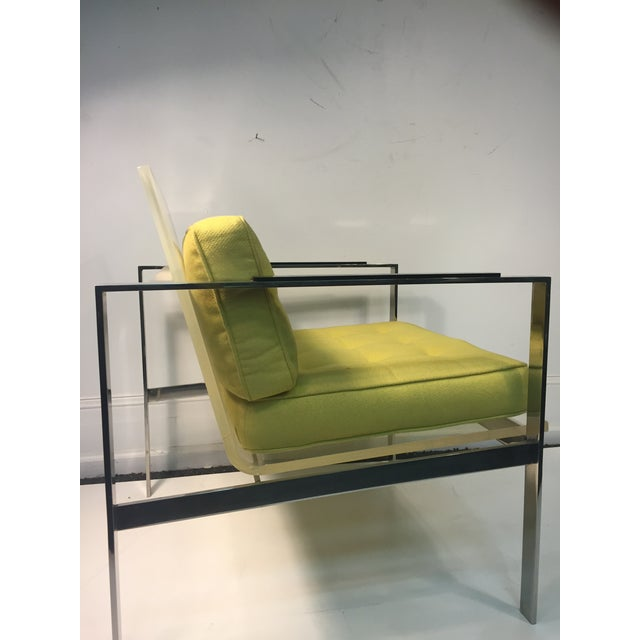Silver Rare Pair of Modernist Lucite And Nickeled Bronze Chairs by Laverne For Sale - Image 8 of 10