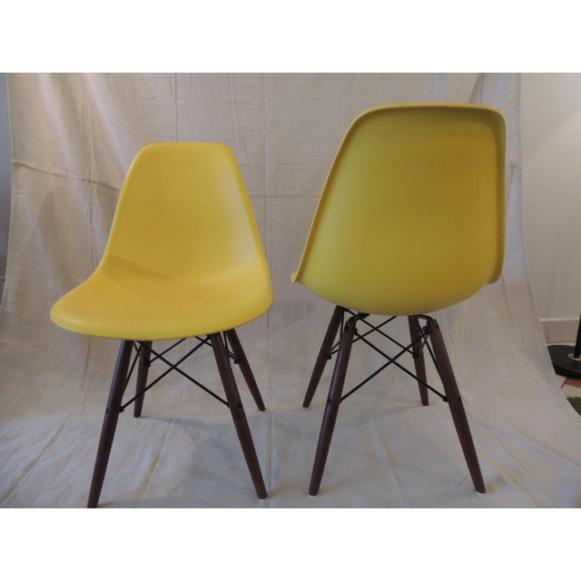 Eames Style Yellow Molded Plastic Side Chairs - a Pair For Sale - Image 4 of 7