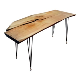 Rustic Gr Solid Maple Wood Writing Desk For Sale