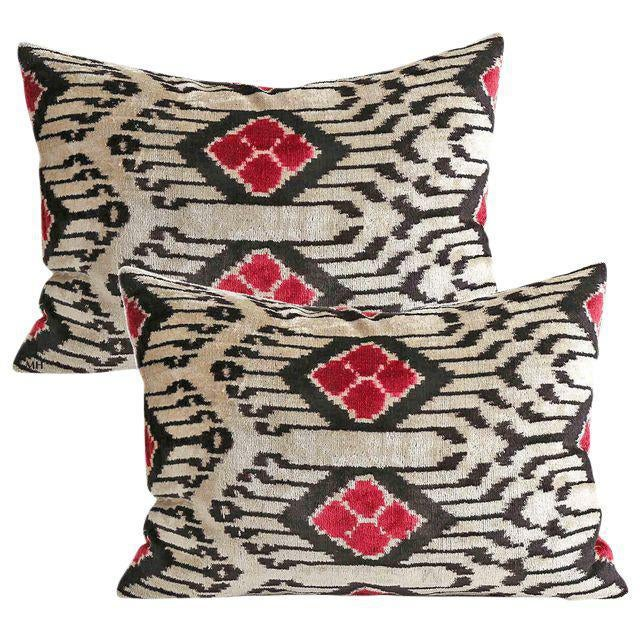 Boho Chic Silk Velvet Down Feather Accent Pillows - A Pair For Sale - Image 3 of 3