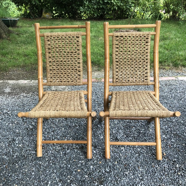 "MCM Pair Hans Wagner style bamboo rope folding lounge chairs Each chair measures 20"" wide x 37"" tall x 24"" deep Seat width..."