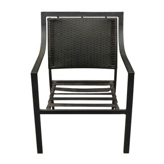 Modern Low Slung Black Metal Outdoor Chair For Sale