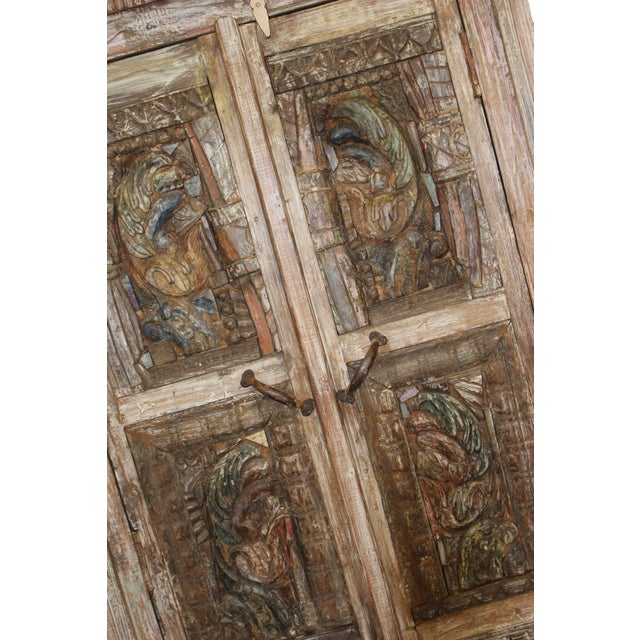 Antique Haveli Carved Rustic Armoire For Sale In Miami - Image 6 of 9