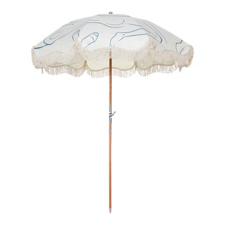 Premium Beach Umbrella - Le Basque Figure Drawing with Fringe For Sale
