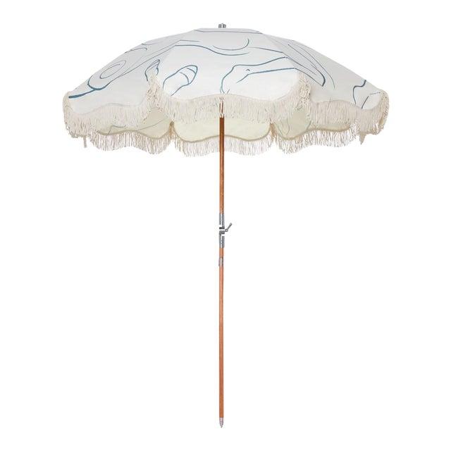 Premium Beach Umbrella - Le Basque Figure Drawing with Fringe For Sale