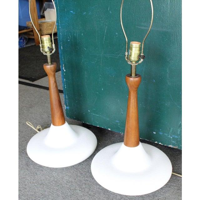 Pair Of Mid Century Danish Modern Atomic Walnut Pottery Table Lamps