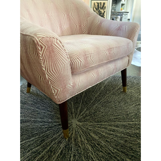 Contemporary Graphic Pink Upholstered Chair For Sale - Image 3 of 5