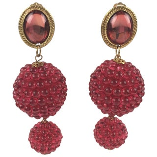 Long Dangling Lucite Clip-On Earrings Raspberry Red Beads For Sale