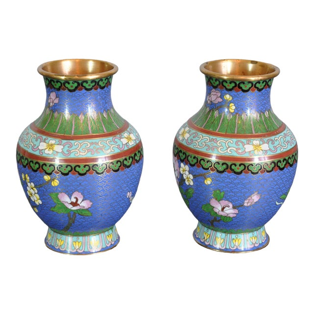 Vintage Chinese Cloissone Vases - A Pair For Sale