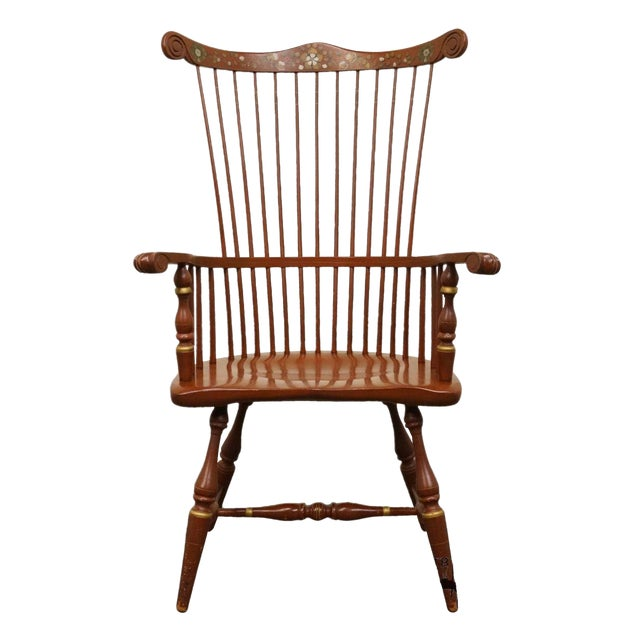 20th Century Traditional Ethan Allen Hitchcock Stenciled High Back Windsor Accent Chair For Sale