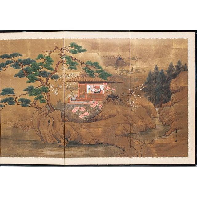Asian 1920s Vintage Japanese Landscape Scene Byobu Screen For Sale - Image 3 of 13