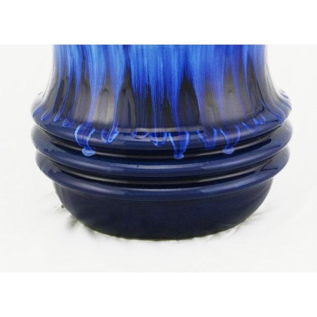 Scheurich Keramik Scheurich West German Blue Drip Glaze Pottery Vase For Sale - Image 4 of 4
