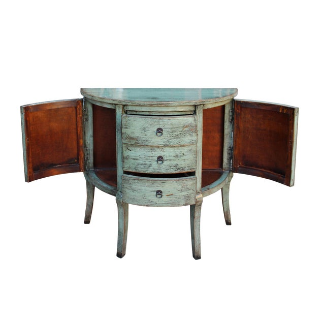 2000 - 2009 Chinese Distressed Gray Celadon Color Wood Craw Legs Half Table For Sale - Image 5 of 8