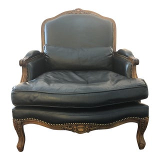 Late 20th Century Leather Bergere Chair For Sale