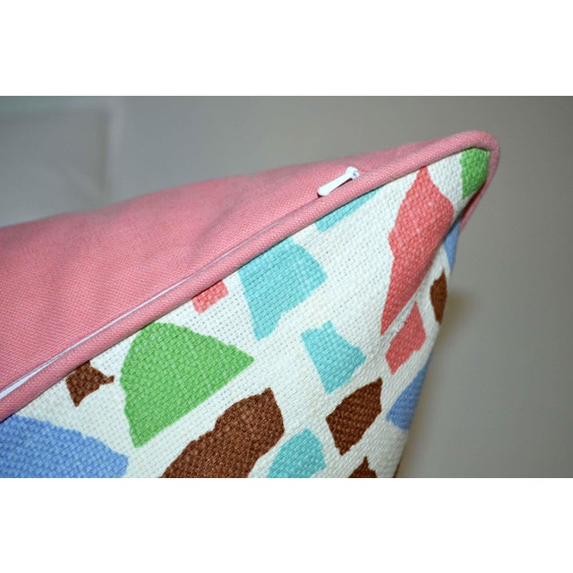Lulu Dk Duralee Pink Geometric Printed Multi-Colored Pillow For Sale - Image 4 of 5