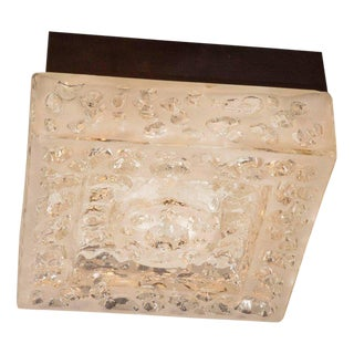 Italian Mid-Century Modern Textured Glass Square Flush Mount by BEGA For Sale