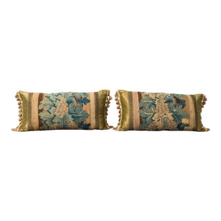 18th Century French Aubusson Verdure Tapestry Fragment Pillows - a Pair For Sale