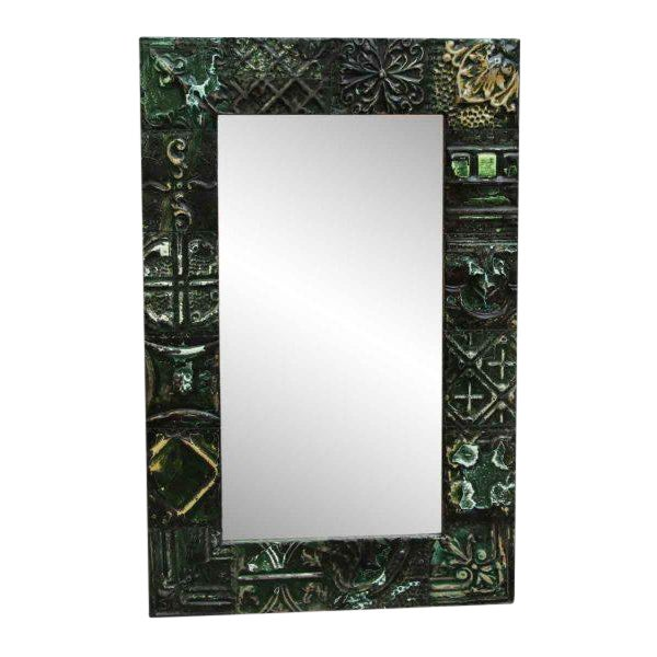 Green Tin Panel Mirror with Mixed Patterns For Sale