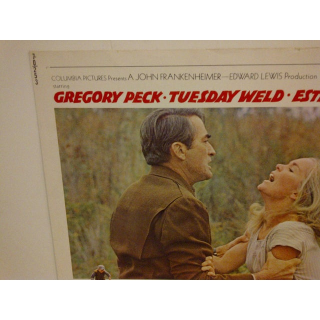 "Mid-Century Modern Vintage Movie Poster - ""I Walk the Line"" - Gregory Peck & Tuesday Weld - 1970 For Sale - Image 3 of 6"