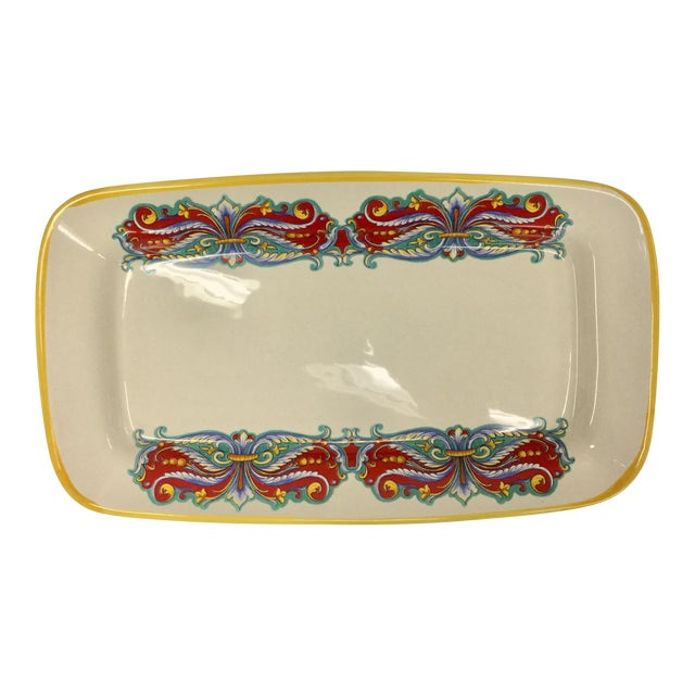 Vintage Italian Ceramica Nova Deruta Hand Painted Platter For Sale