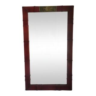 Sarreid Leather & Brass Deer Mirror For Sale