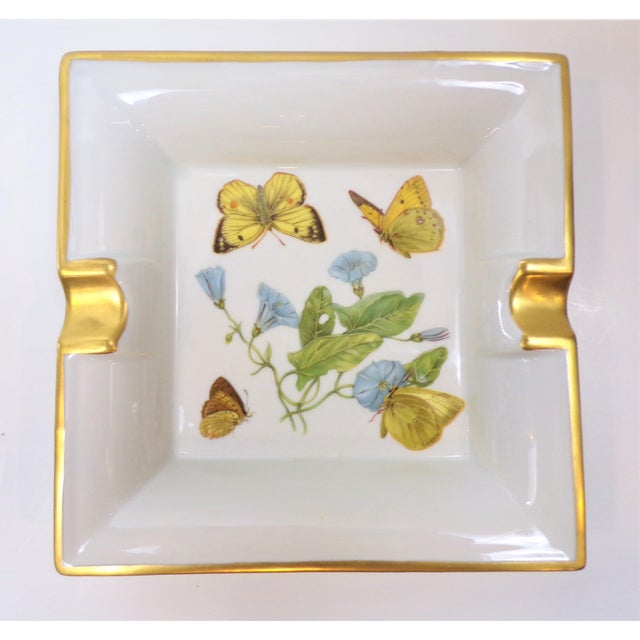 Metal Vintage Hermes Style Butterfly Ashtray With Suede Bottom For Sale - Image 7 of 13