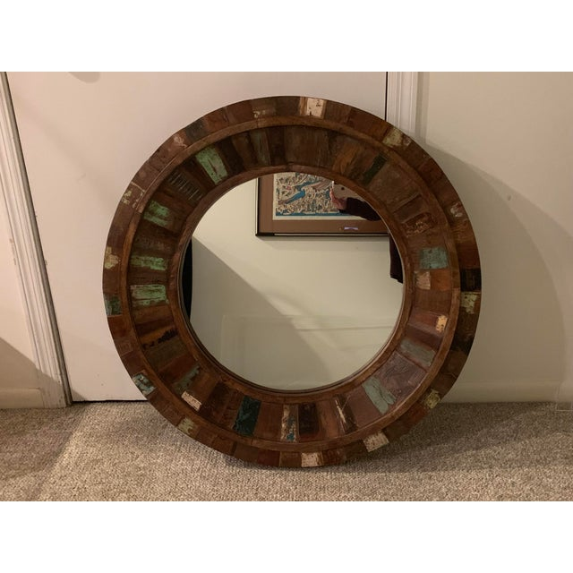 Rustic Reclaimed Wood Round Mirror For Sale - Image 9 of 9