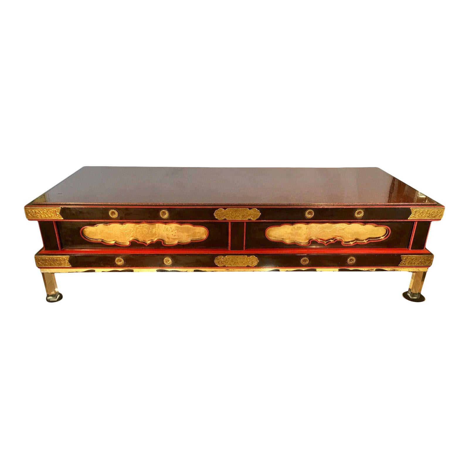Rare Antique Japanese Coffee Table W Rouge Marble Top & Lucite Legs